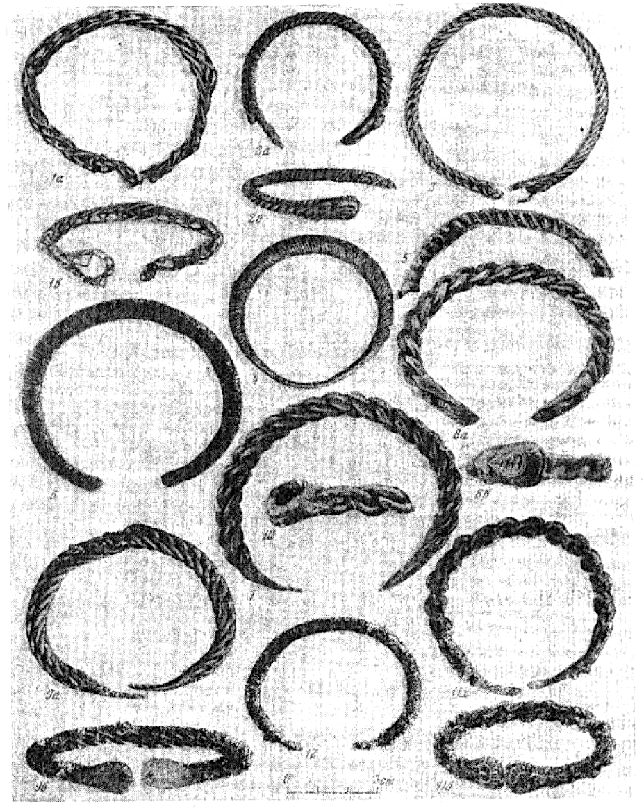 Illustration 36: Bracelets which are Braided (1, 3, 7-11), Wound around a Rod (2), and Hollow (4-6, 12)