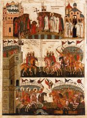 Illustrations 9 and 10: The Battle of Suzdal' against Novgorod. Novgorod icon, 14th century.