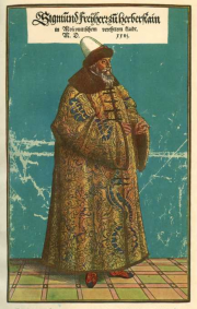 Illustration 13: Portrait of Herberstein in the hat and Russian fur coat in which he presented himself to the Grand Prince during his second embassy.