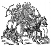Illustration 14: Three Russian cavaliers (according to Herberstein) in full armor. They are dressed in tegiljaj, quilted cotton clothing with a tall standing collar.
