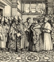 Illustration 15: The reception of the embassy of clerk Vladimir Semenovich Plemjannikov and his interpreter Istoma the Small by Emperor Maximilian I on 23 March 1518 in Innsbruck. From a contemporary engraving by Burgmeyer.