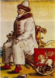 Illustration 17: Grand Prince Vasilij III Ivanovich. From a German engraving by Hirshfogel for Herberstein's book.