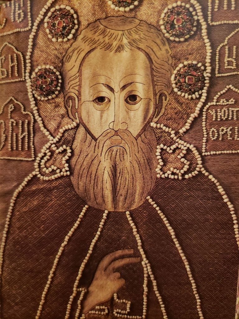 Shroud decorated with the image of St. Sergius of Radonezh with scenes of his life, 1671.