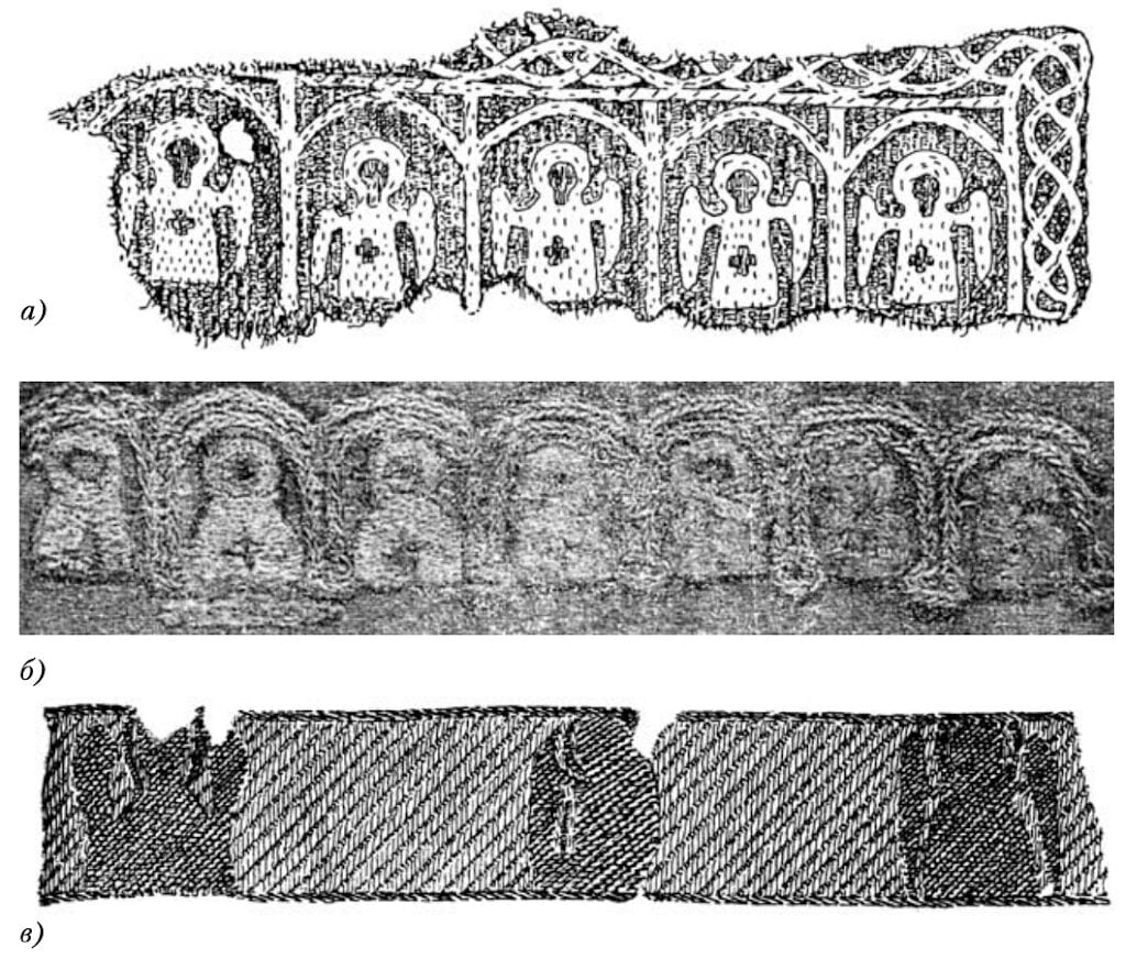 Examples of ecclesiastical embroidery:а - fragment of a collar from the Derevjanitskij burial ground near Novgorodб - fragment of a headband from a burial near the village of Ivorovo, Tversk regionв - gold fabric band from a mound near the village of Maklakovo, Rjazan' region, 12th-early 13th c.