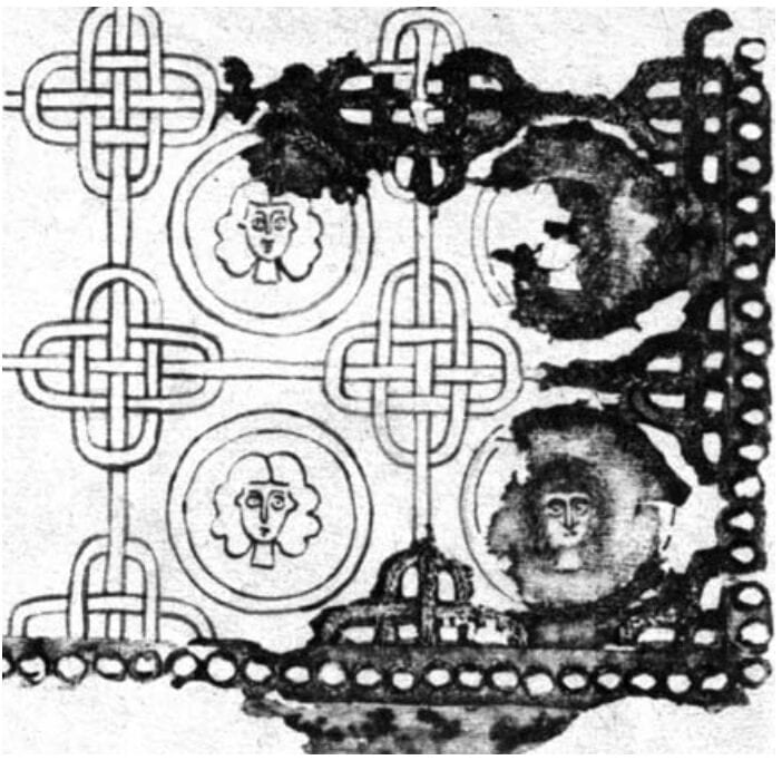 Fragment and drawing of embroidery from the sleeve from the first kaftan from the Chingul' burial mound, late 12th-early 13th c.