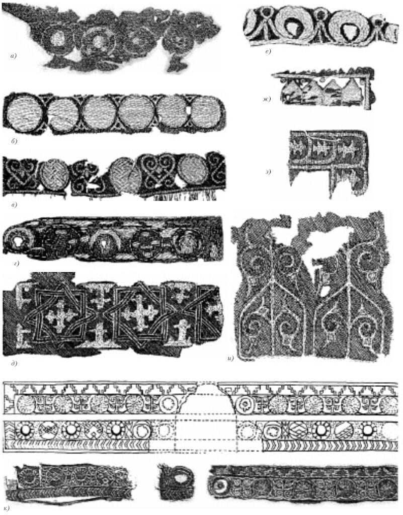 5. Examples of ornamental embroidery: а - fragment of standing collar from a burial at village of Khreple, Novgorod region, 12th c;   б - fragment of standing collar from a burial at village of Karash, Yaroslav region, 11-12th c. в -  fragment, standing collar, burial mound, village of Maklakovo, Rjazan' region, late 12th-early 13th c. г - fragment, standing collar, burial mound, village of Kubaevo, Vladimir region, 11-12th c. д - fragment of a collar, village of Karash, 11-12th c. е - fragment of embroidery found near the village of Osipovtsy, Vladimir region, 11-12th c.  ж - fragment of a collar, village of Maklakovo, late 12th-early 13th c. з - fragment of clasped collar from mass grave in Staraja Rjazan', first half of the 13th c. и - clothing fragment from the Mikhajlovskij monastery crypt, late 12th-early 13th c. к - headband from burial under the Cathedral of the Assumption in the Moscow Kremlin, drawing and two fragments, second half of the 12th c.