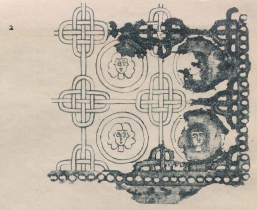 Fragment of embroidery and drawing of the sleeve of the first kaftan from the Chingul Kurgan.