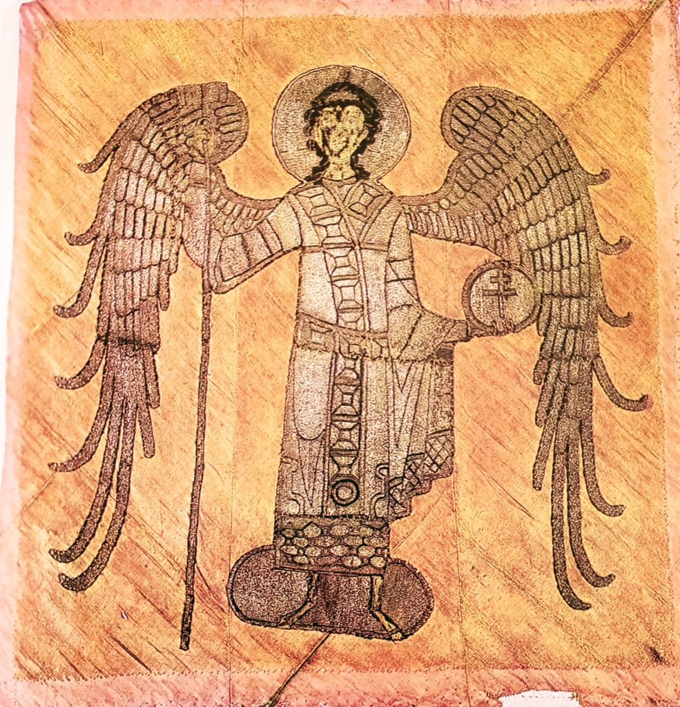 The Archangel. Gonfalon, 65 x 67.5 cm, First half of the 14th century, Moscow. Acquired in 1925 from the State Museum Fund. State Museums of the Moscow Kremlin (16211op).