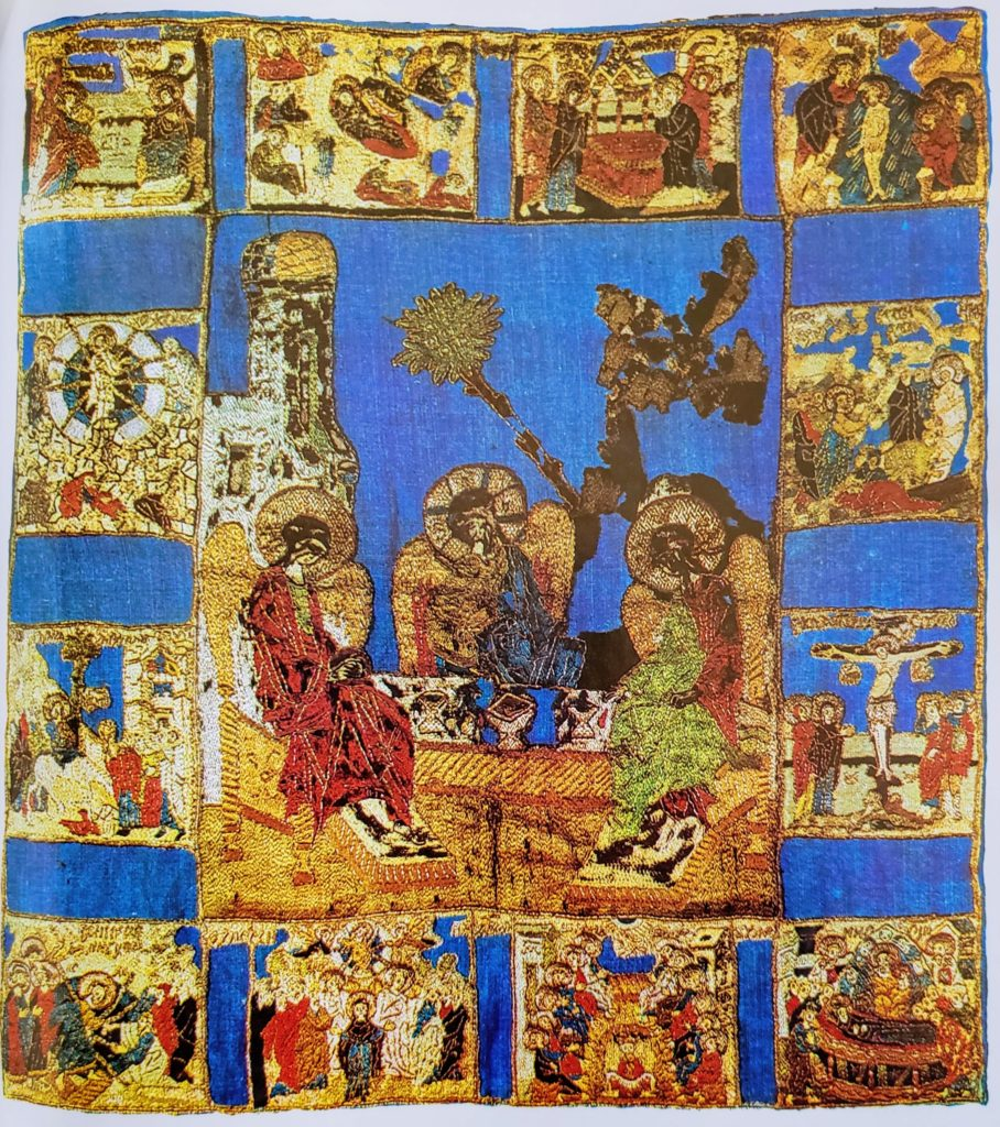 The Trinity, with Holidays. Veil, 55 x 51 cm, second half of the 15th century, Moscow. From the Trinity-Sergiev Lavra. Zagorsk State Historical-Artistic Museum-Reserve (361).
