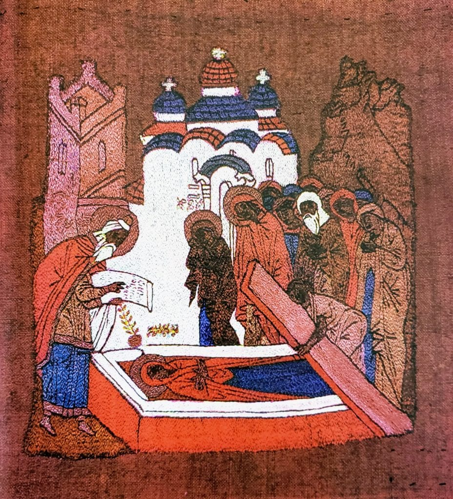 The Burial of St. Anne. Podea, 26 x 24 cm, last quarter of the 15th century, Moscow. From the Trinity-Sergiev Lavra. Zagorsk State Historic-Artistic Museum-Reserve (364).