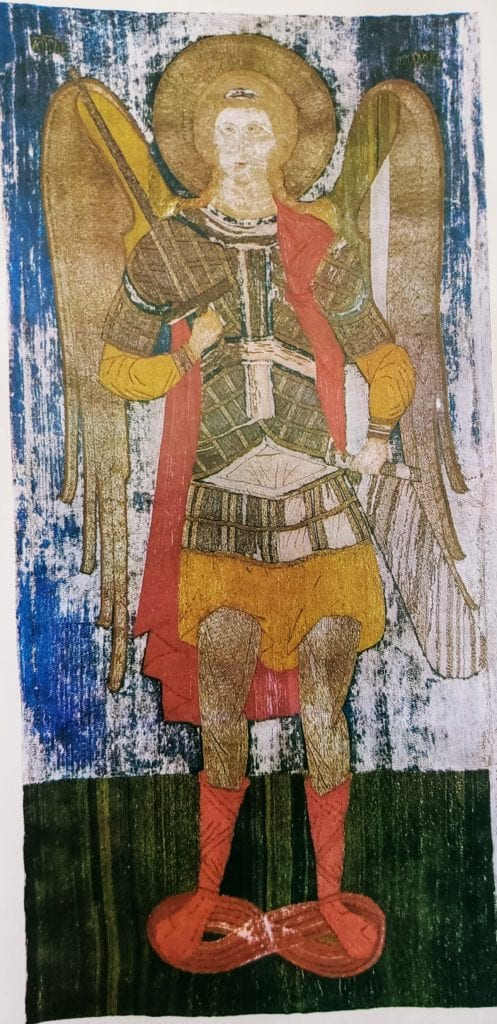 The Archangel Michael. Embroidered icon, 151 x 76 cm, late 15th-early 16th century, Novgorod(?) From the Alexander-Svirsky Monastery. State Russian Museum (196).