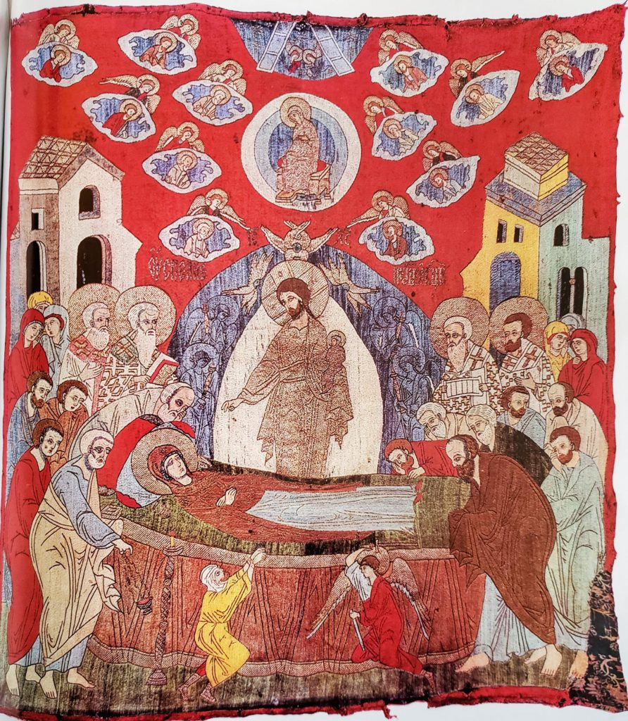The Dormition of the Virgin, Podea, 89 x 98 cm, early 16th century, Moscow(?). From the Cathedral of the Dormition, Ryazan'. Ryazan' Regional Museum of Local Lore (3496).