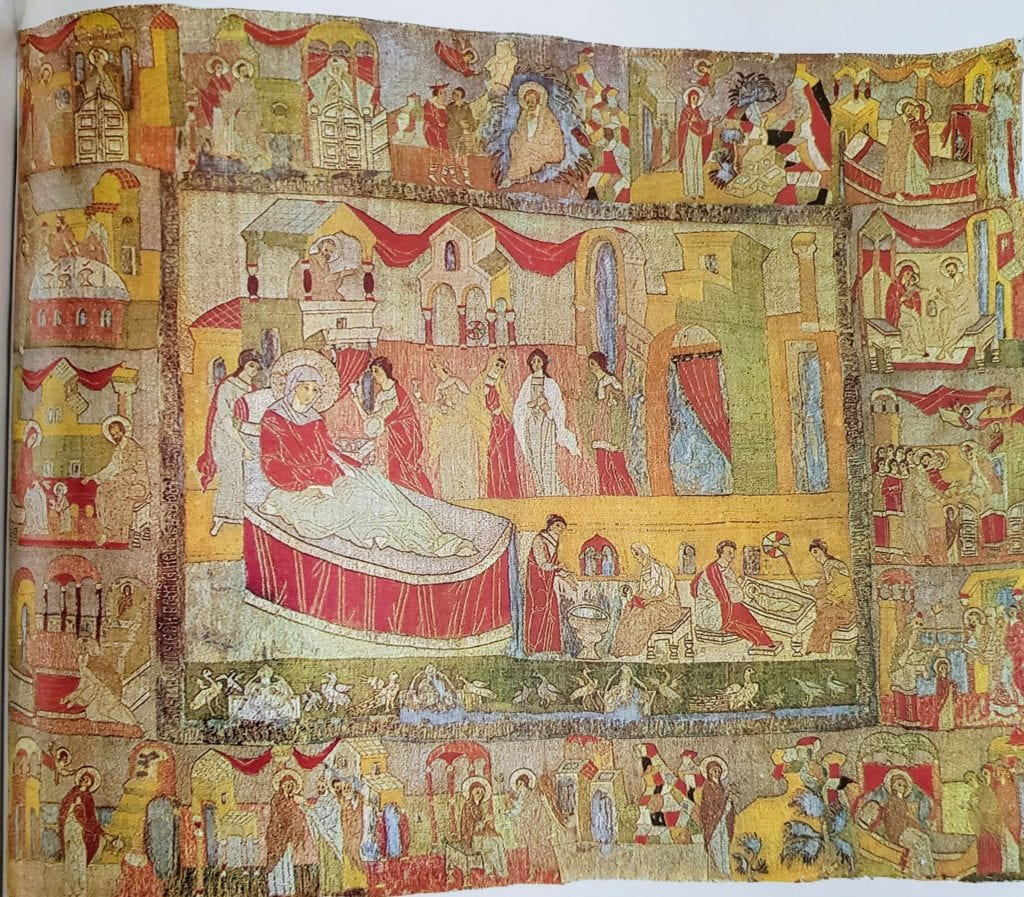 The Birth of the Mother of God, Podea, 116 x 145 cm, 1510, Volokolamsk. From Volokolamsk's Cathedral of the Resurrection. State Tretyakovskaya Gallery (20930).