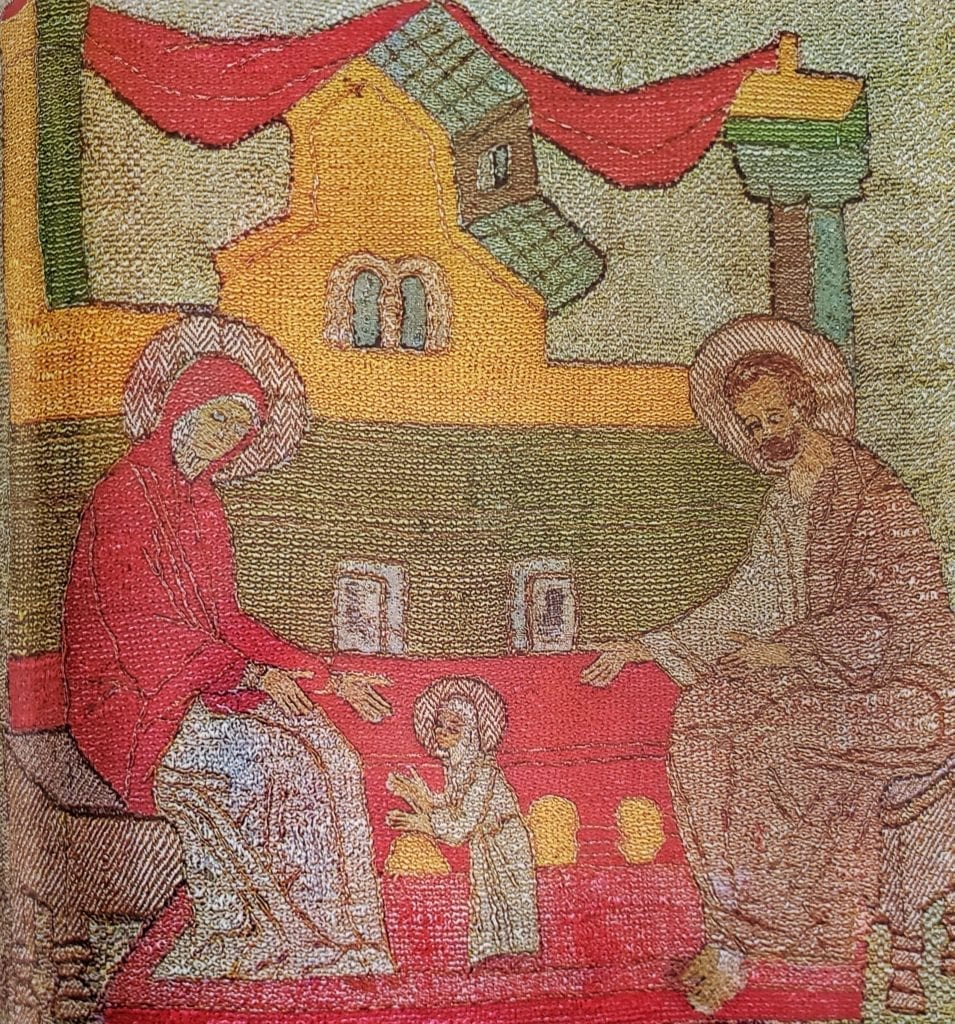"The Evangelism to Joachim in the Desert, Detail of the podea ""Birth of the Mother of God,"" Podea, 116 x 145 cm, 1510, Volokolamsk. From Volokolamsk's Cathedral of the Resurrection. State Tretyakovskaya Gallery (20930)."