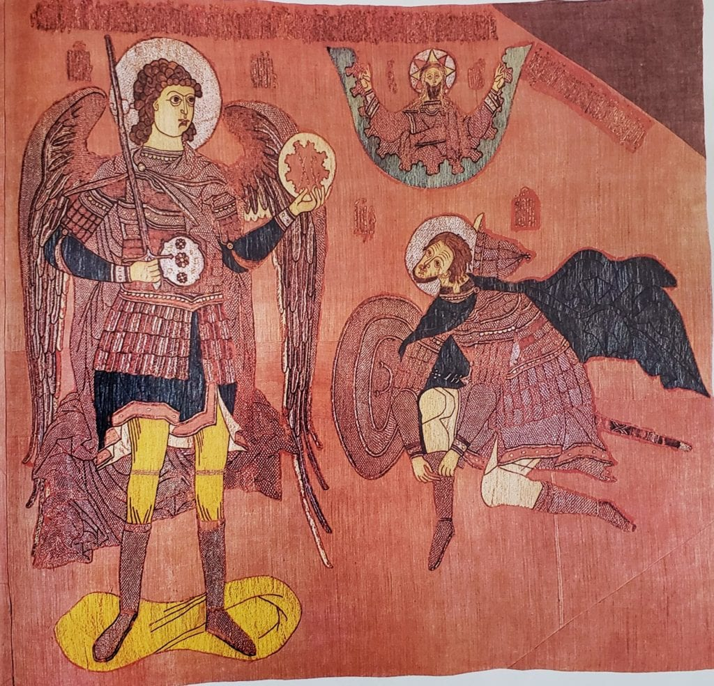 The Appearance of the Archangel Michael to Joshua  Banner, 166 x 181 cm, early 17th century, Sol'vychegodsk(?). From the Ss. Boris and Gleb Monastery near Rostov Velikij.  State Tretyakovskaya Gallery (20982)