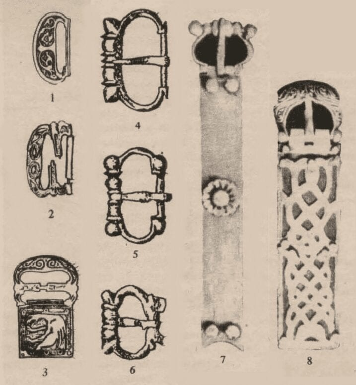 1-3. Limoges buckles with enameled, decorated mounts very similar to the buckles of the Khan's second and third belts. First half of the 13th century; 4-6. Western European buckles similar to the buckle on the first belt. Third quarter of the 13th century; 7. The Khan's oldest-dated buckle. Dated 1230-1280; 8. Belt mount from the second quarter of the 13th century, which helped clarify the date of the mound.