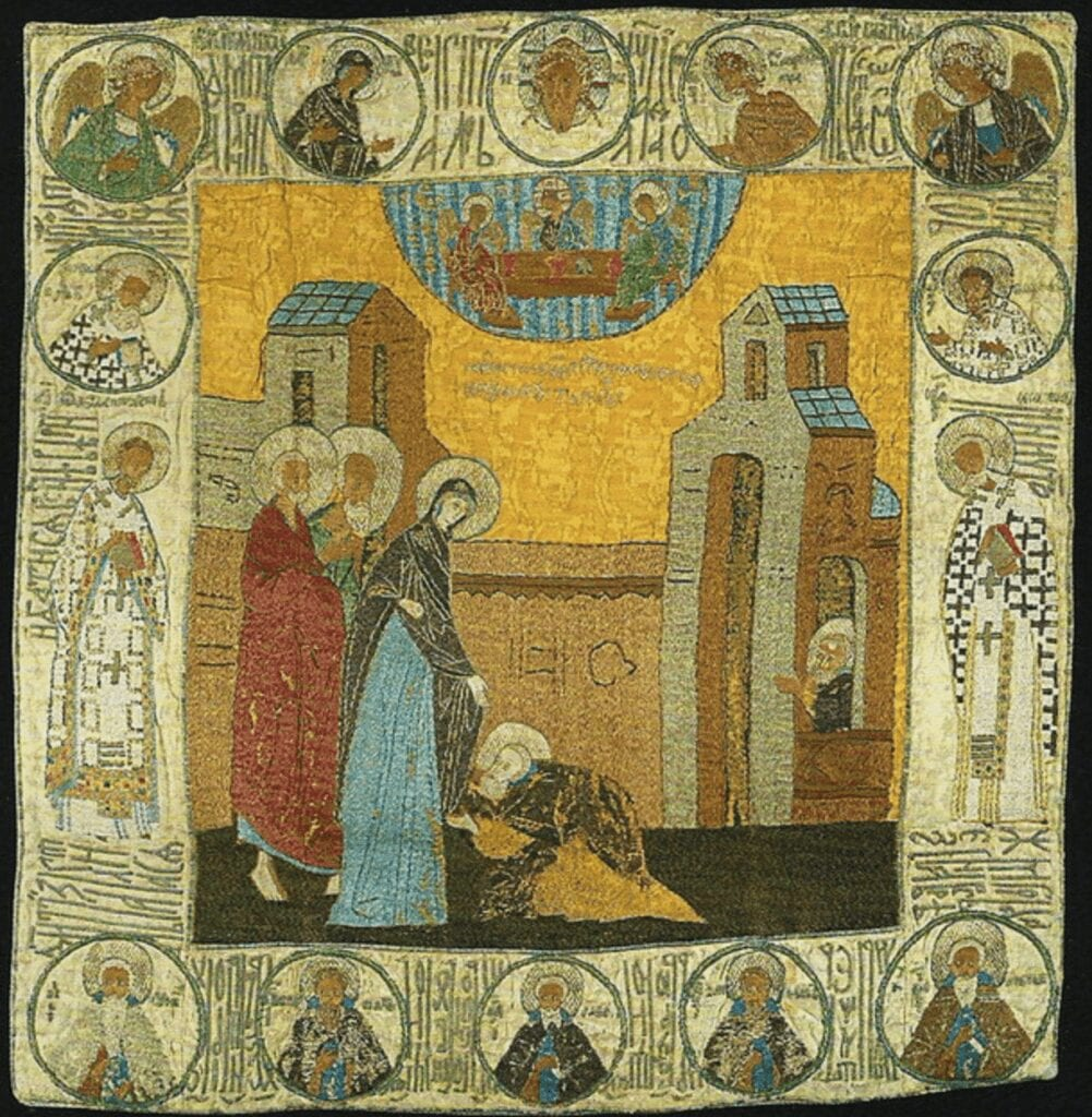 Appearance of Our Lady to St. Sergius. Podea (Sudarium?). 1480s.Museums of the Moscow Kremlin.