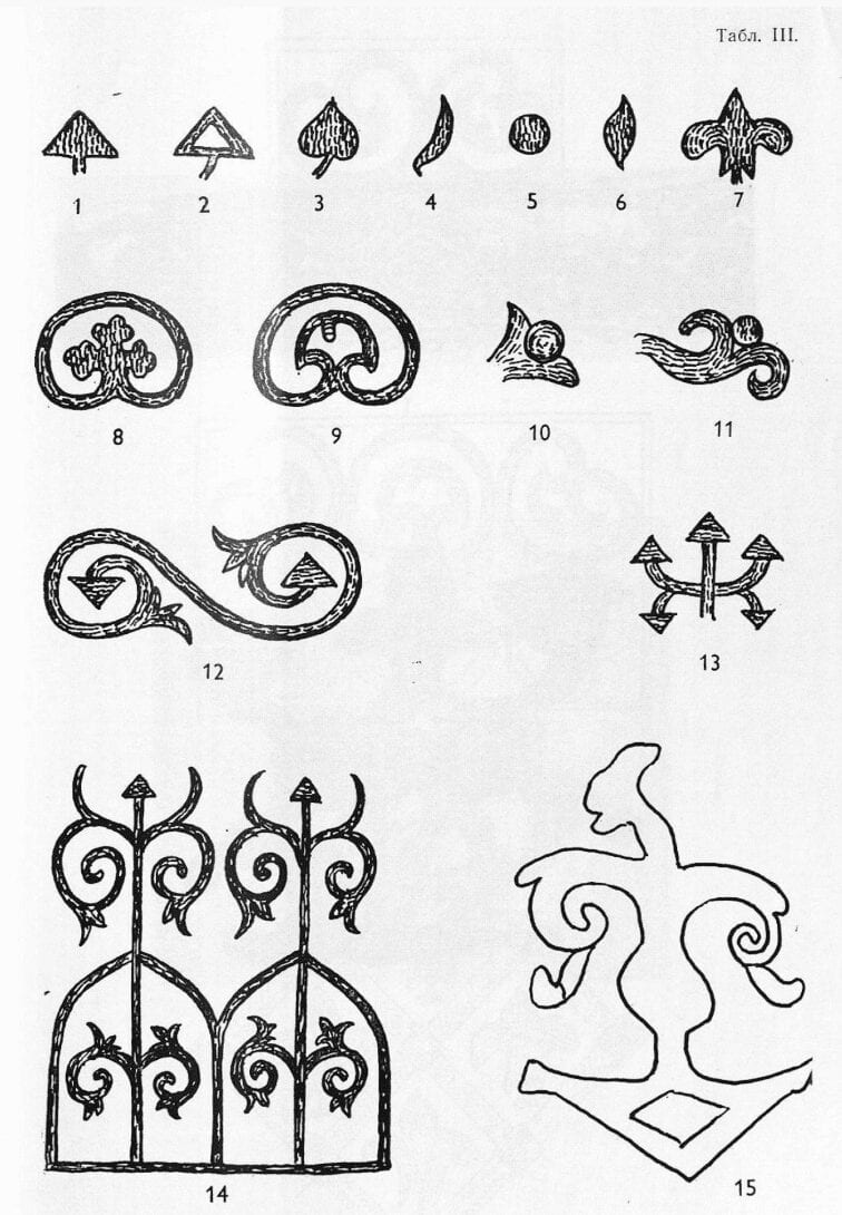Drawings of embroidered designs from goldwork embroidered items found in medieval Russian archeological digs.