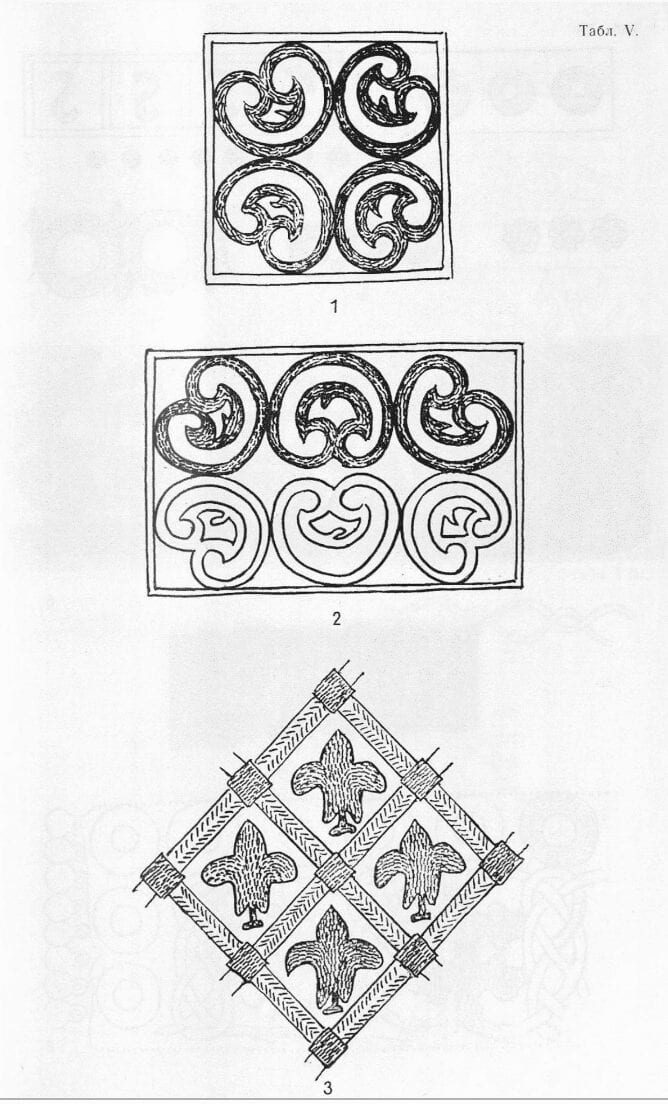 Drawings of designs found on fragments of goldwork embroidered items from medieval Russian archeological digs.