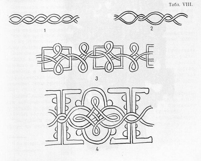 Drawings of designs of goldwork embroidery found on remnants from medieval Russian archeological digs.