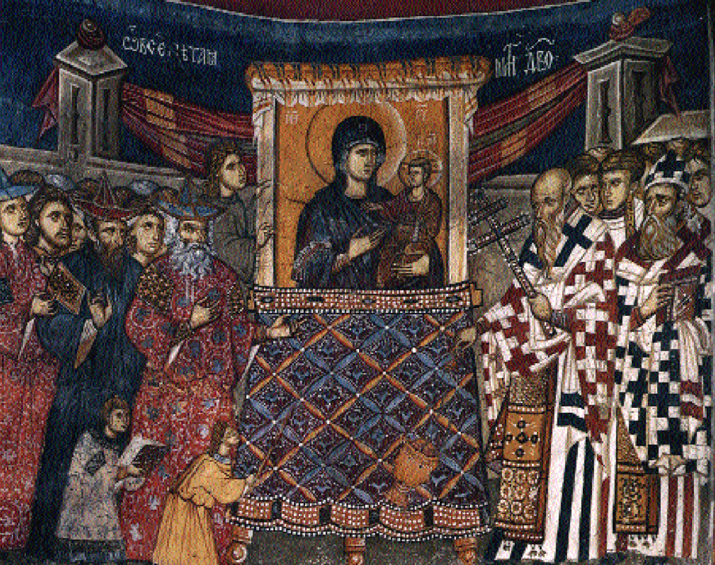 """""""Oh, Mother of God in All Matter..."""" Fresco, depicting The Praise of the Most Holy Theotokos (kontakion #13). Church of St. Dimitrij, Marko's Monastery, Macedonia. Circa 1376-1381."""