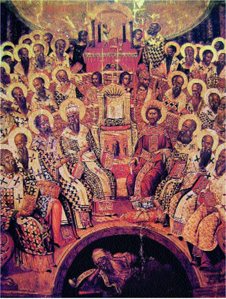 "Master Mikhail the Damascene. ""The First Ecumenical Council,"" 1591. Museum of the city of Heraklion, Crete. Fragment."