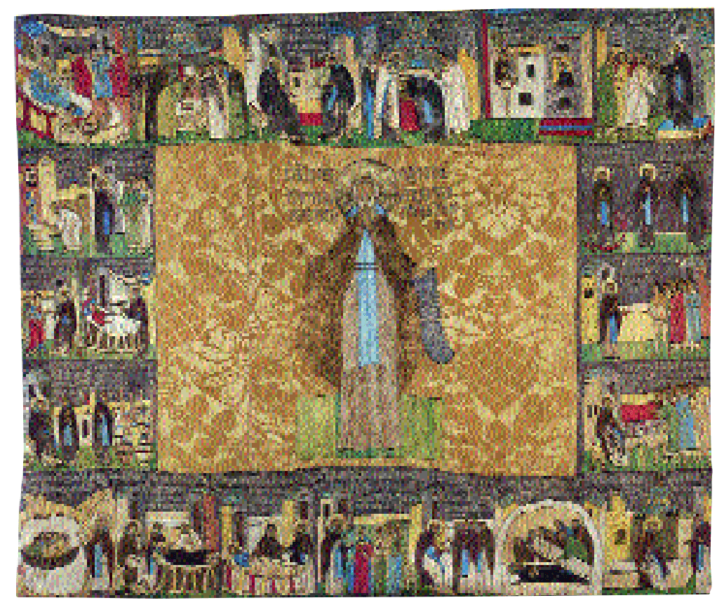 """The Venerable Cyril Belozerskij with  Scenes from his Life."" First quarter, 16th cent.  From the Kirillo-Belozerskij Monastery. Embroidered podea."