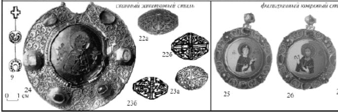 An image of several items of Russian jewelry from the 12th century