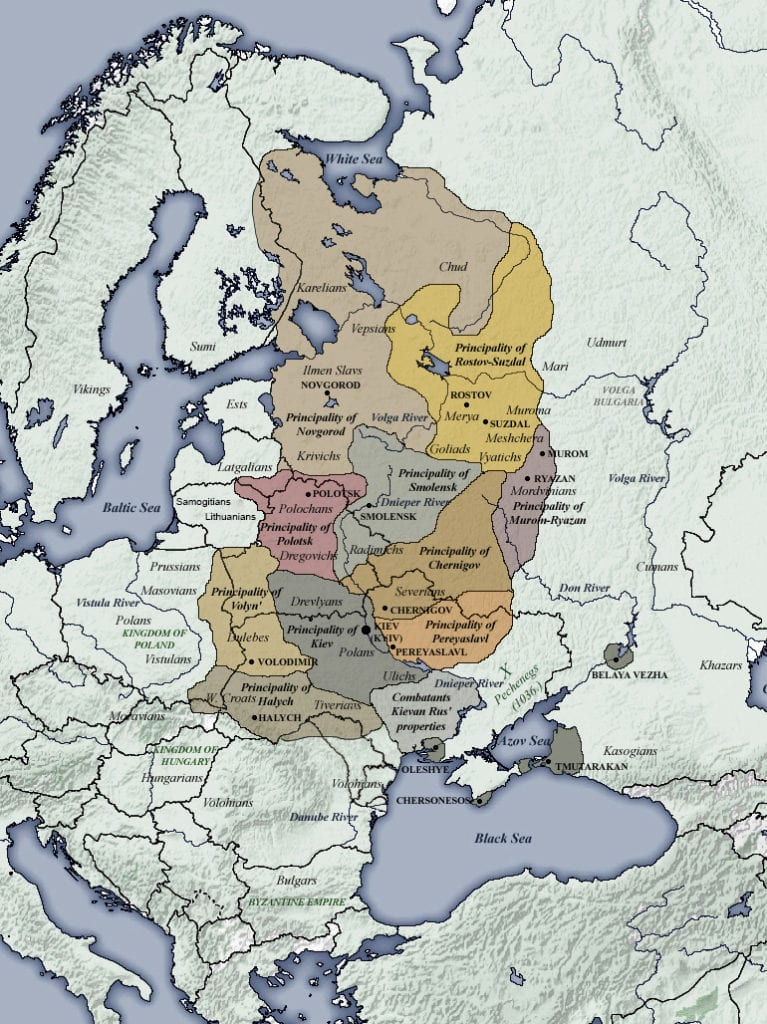 Map of the various city-states of Kievan Rus', c. 1054, with various neighbors including Volga Bulgaria also visible.