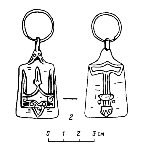 Drawing of a 10th-11th century pendant with Rjurikovichi symbols discovered near Perm'.