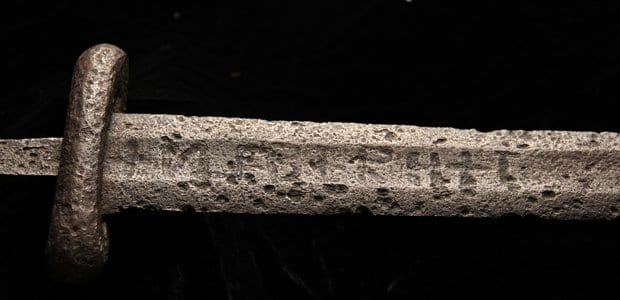 Picture of a Viking sword bearing the ULFBERHT trademark inscription.