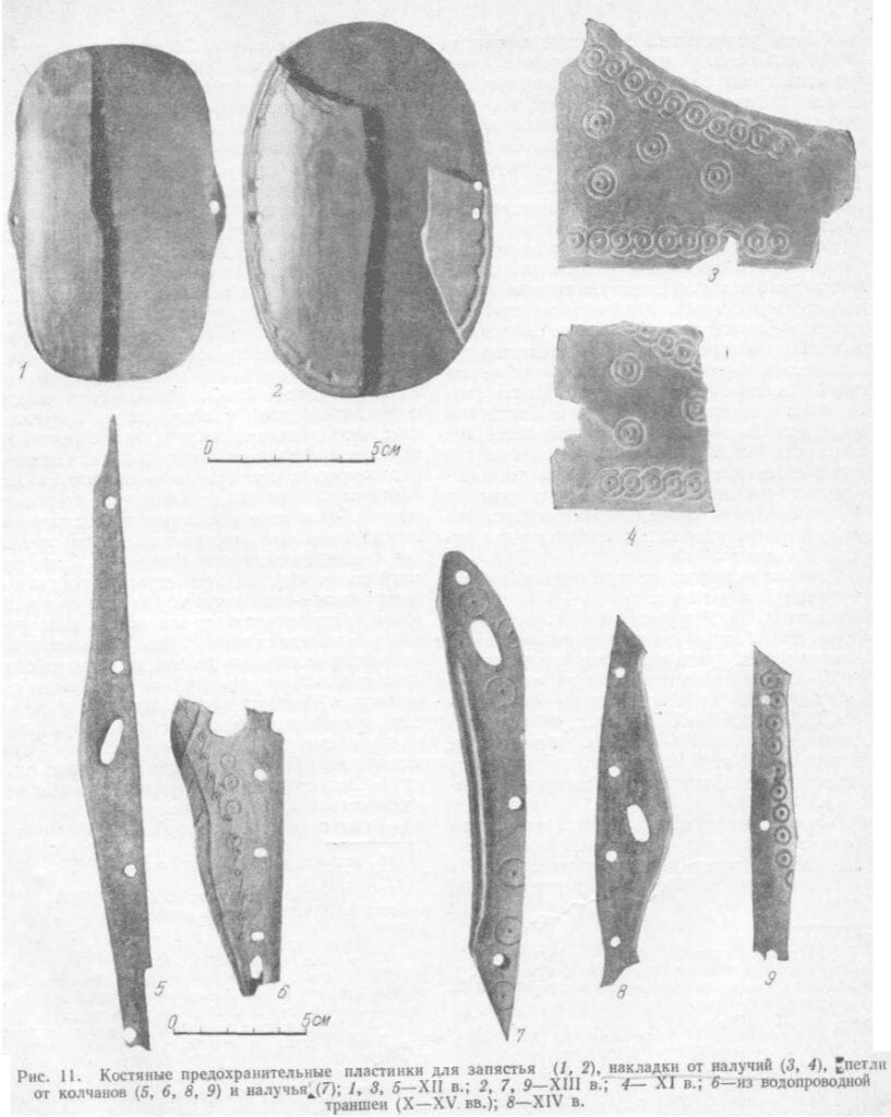Photographs of bone hinges and decorative plates from Novgorod