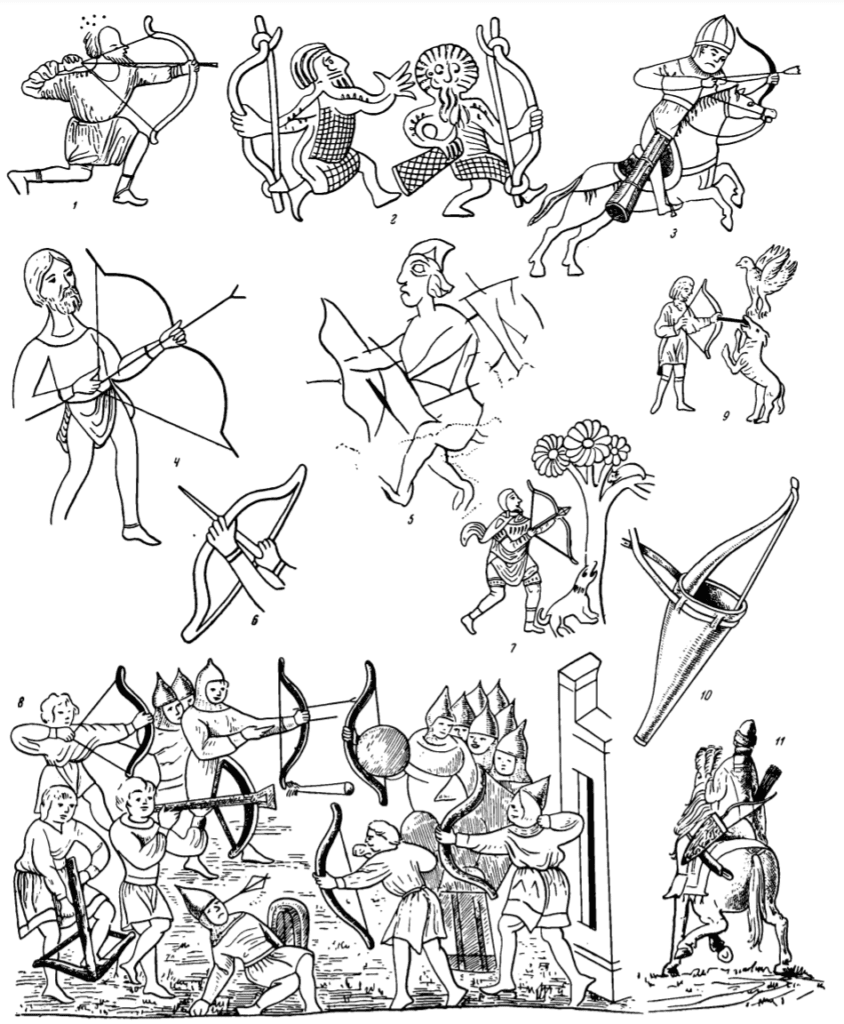 Depictions of medieval Russian compound bows, quivers, bow covers, and crossbows.
