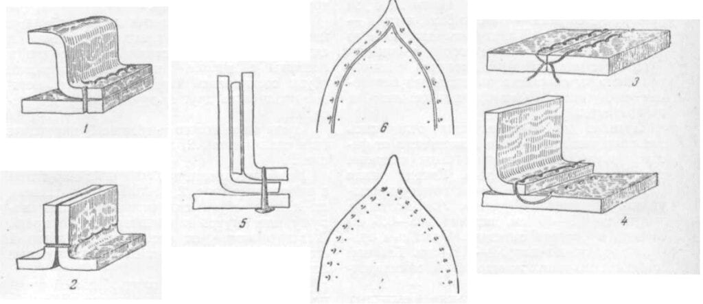 Drawing illustrating various seams used in medieval Russian shoemaking.