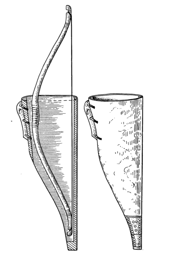 Drawing of a Medieval Russian bow case with a wooden body, and the placement on it of decorative bone plates and the suspension hinge (reconstruction).
