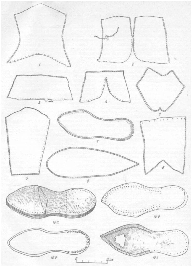 Drawing of parts of ankle boots and boots found in Novgorod