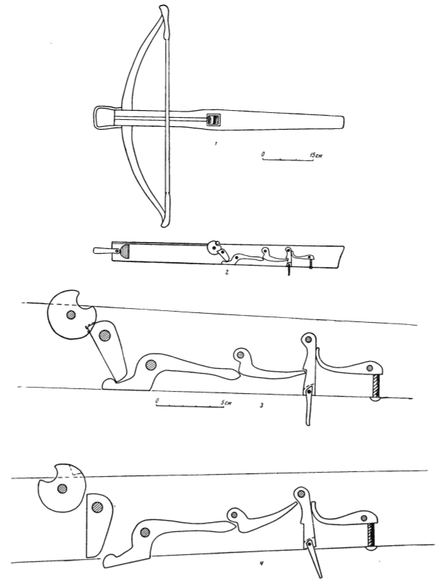 Drawing of the firing mechanism of a crossbow.