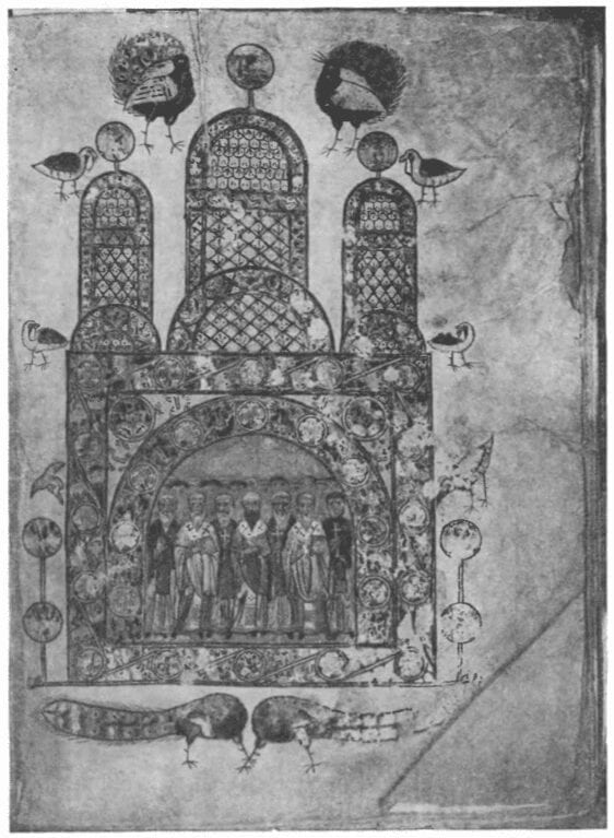 The Convocation of the Saints. Miniature from the Svyatoslav Izbornik, 11th century.  State Historical Museum.