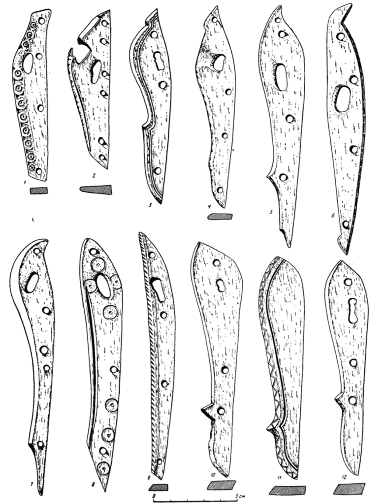 Drawings of Bone hinges for suspending bow cases, and unfinished hinges.