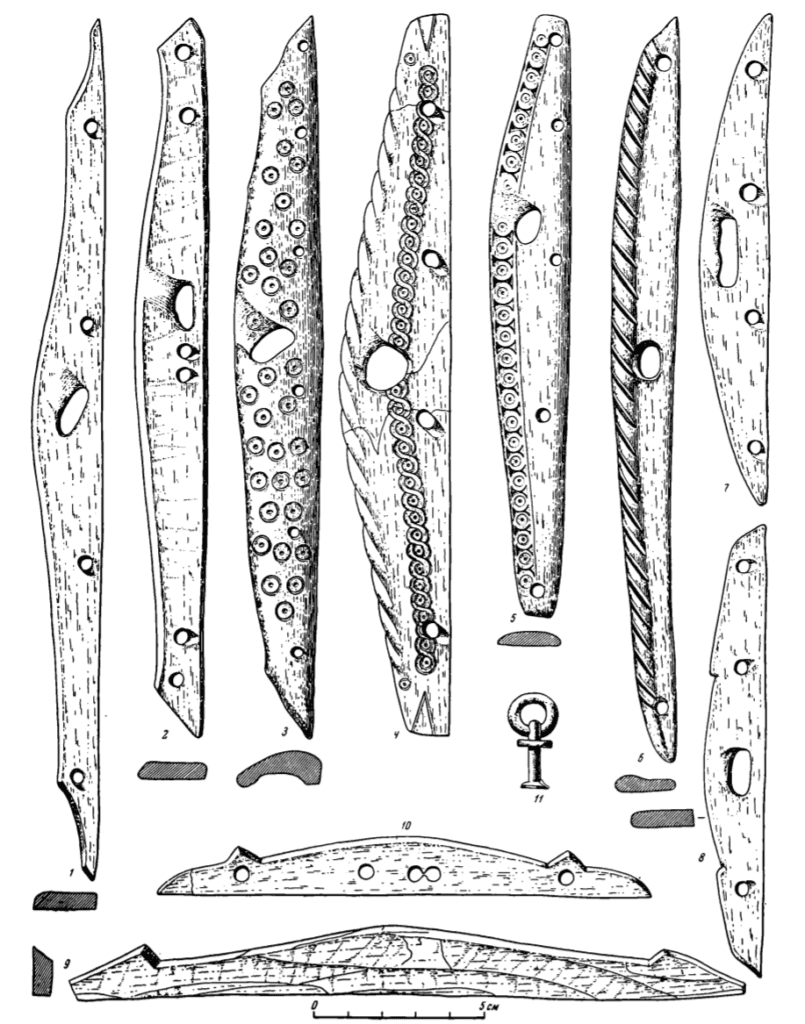 Drawings of Bone hinges for suspending quivers, unfinished hinges, and a ringed rivet from a quiver.