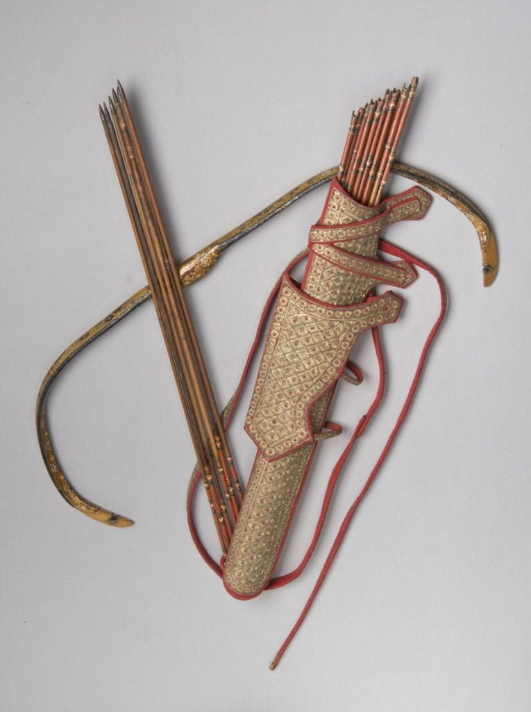 Picture of a 17th century Iranian Saadak-style quiver and bow case, along with arrows and a composite bow