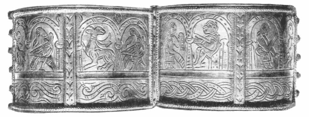 Photo of one of two paired bracelets, 12th century. Location of discovery unknown, stored in the State Historical Museum.