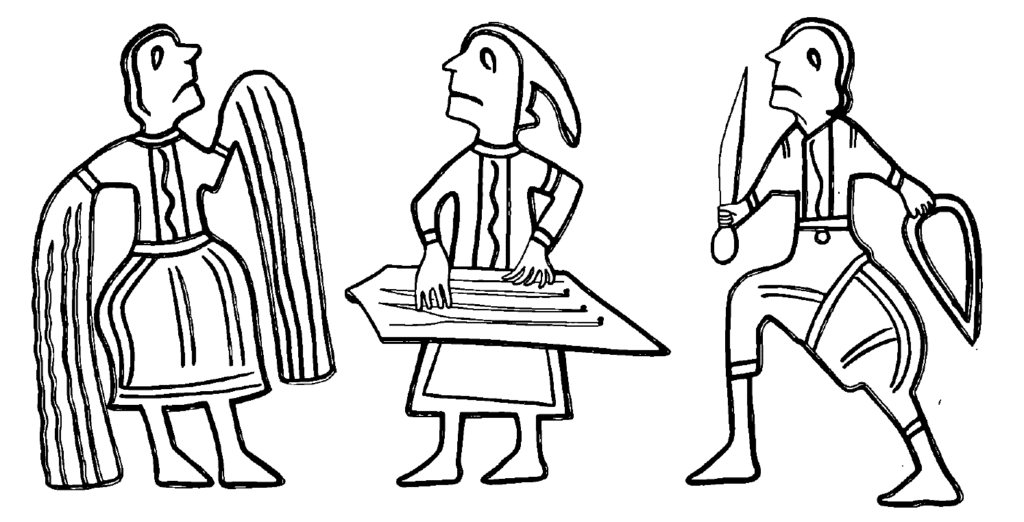 A drawing of three human figures from a 12th century bracelet from Kiev.