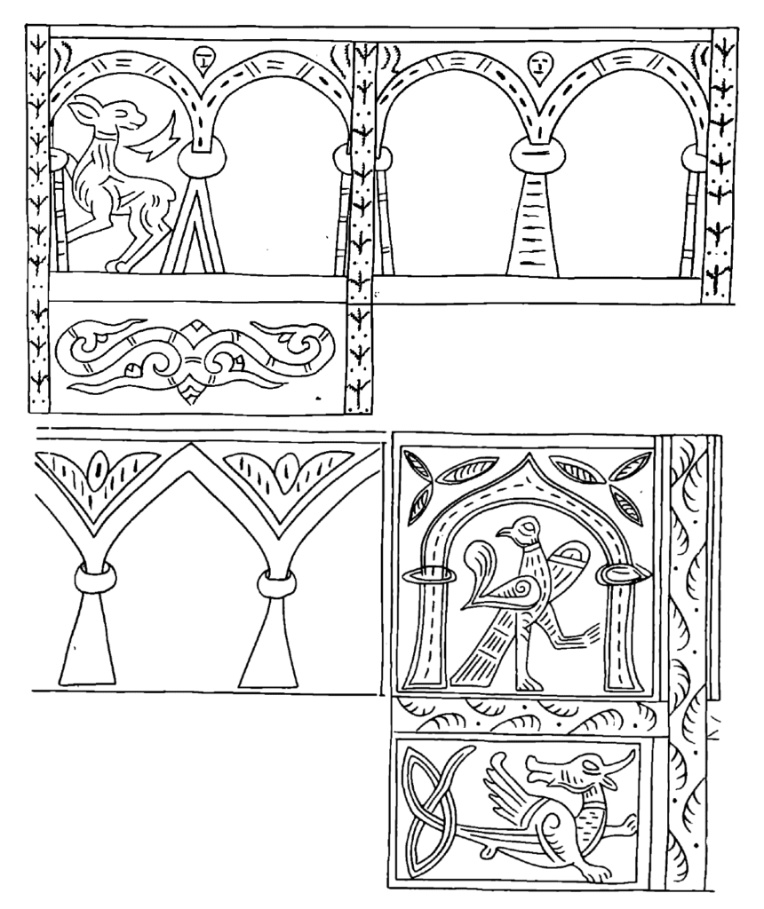 Drawings of details from various Rus' bracelets.