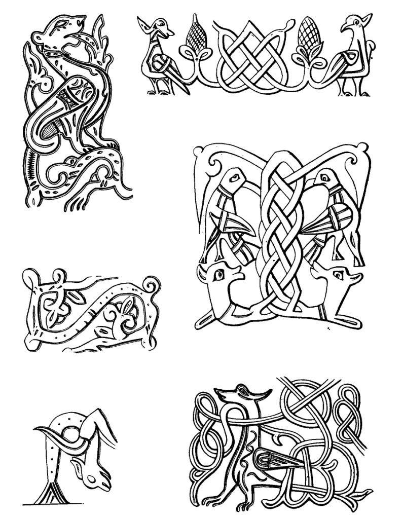 Drawings of Simargls with roots and shoots.