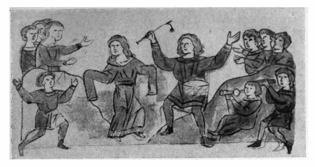 "A picture of a miniature from the Radziwiłł Chronicle, entitled ""Merrymaking"""