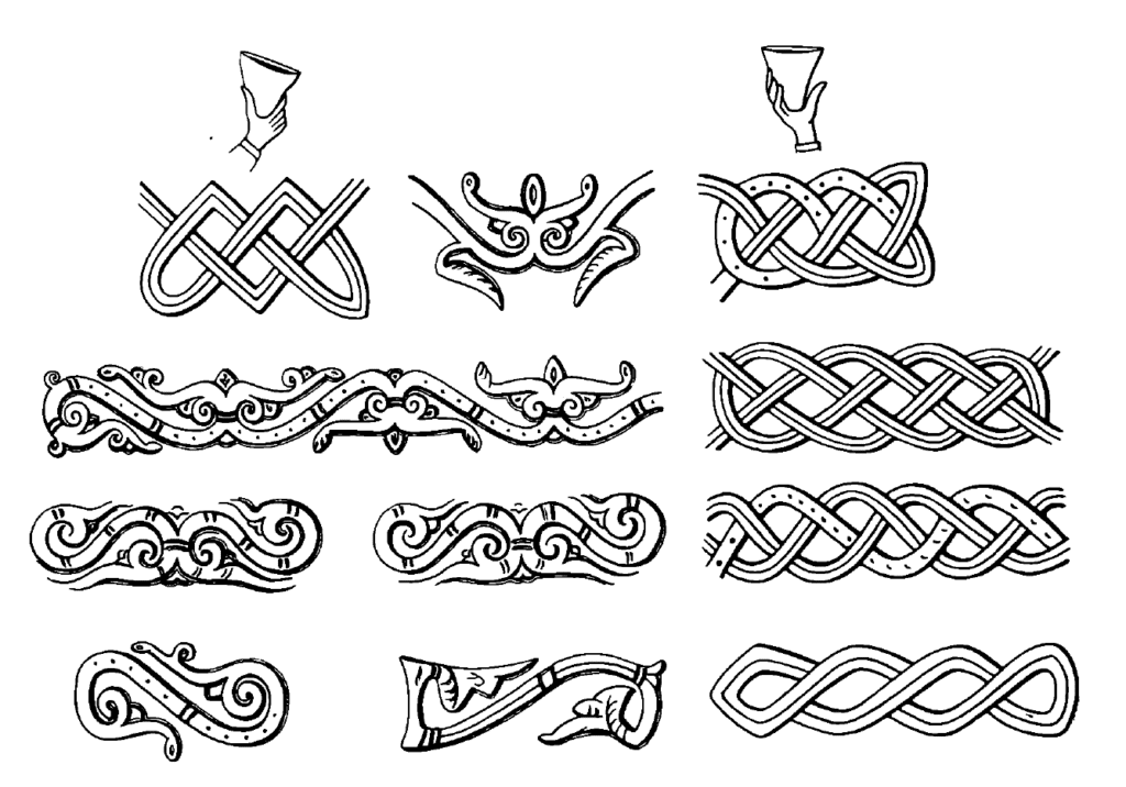 Drawings of imagery from the lower row of 12th century Rus' cuff bracelets, in the form of vegetation and knotwork representing plants and water.
