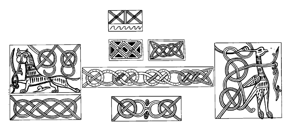 Drawings of sun and water symbolism on medieval Rus' bracelets.