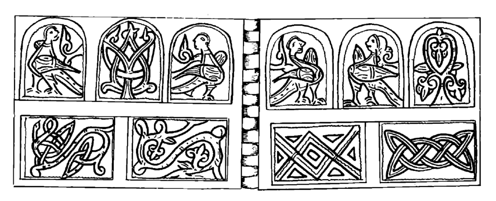 Drawings of Water spirits/rusalki and the Tree of Life depicted on a 12th century bracelet, found in Kiev.