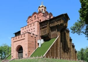 Modern reconstruction of the Golden Gate of Kiev. Photo in public domain.